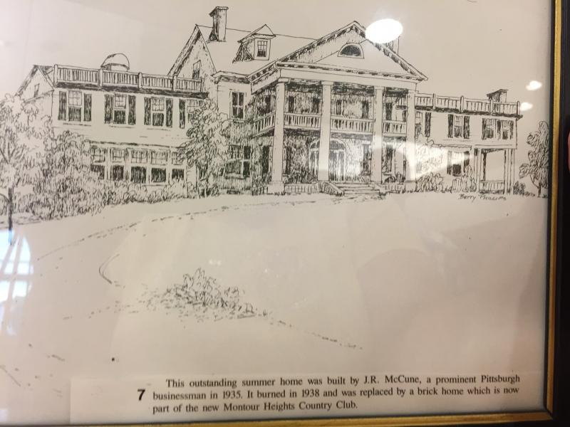 Prior to the meeting, Earl and Mary Ellen laid out sketches by the WHAL artists that was in a Commemorative Calendar.  This sketch is of the Moon Township  home that became the Montour Country Club!